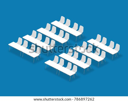 Meeting room setup layout configuration Classroom isometric style illustration, perspective 3d with shadow on blue color background