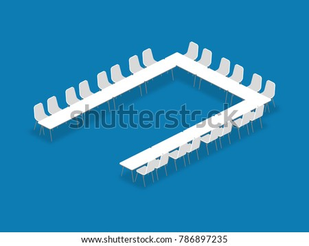 Meeting room setup layout configuration U Shape isometric style illustration, perspective 3d with shadow on blue color background