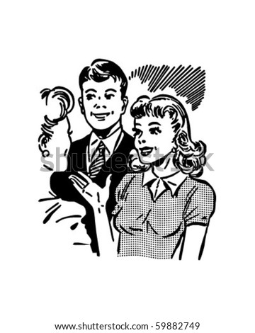 Meeting The Boyfriend - Retro Clip Art