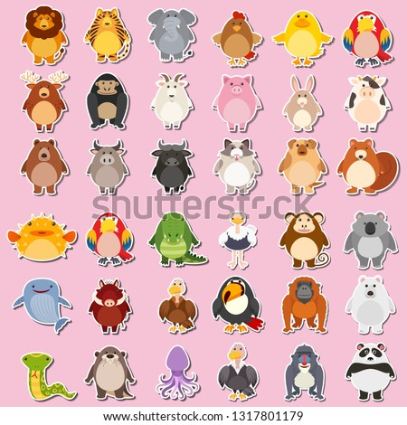 Mega animal sticker pack illustration