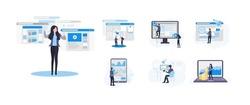 Mega Big set of illustrations. SEO, Web Design, Search Engine Optimization, Investing, Website Development, Business Concept. Vector flat illustration