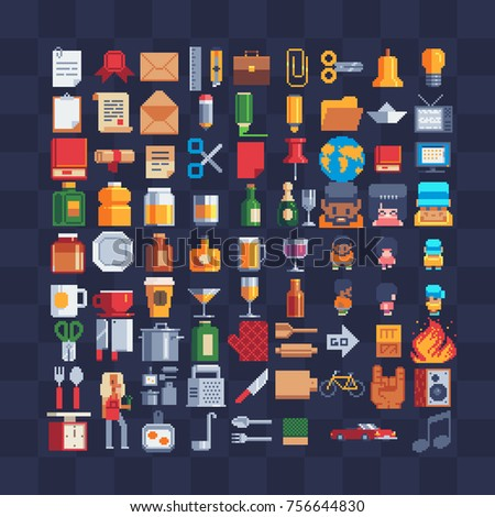 Mega big set pixel art icons. Flat style. Kitchenware, school stationery, business accessories, alcoholic beverages. Sticker design pack. Isolated vector illustration collection. Video game sprite.