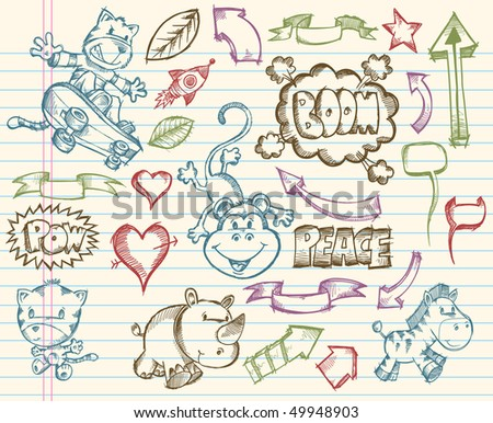 Mega Big Sketch Doodle Vector Illustration Set - stock vector