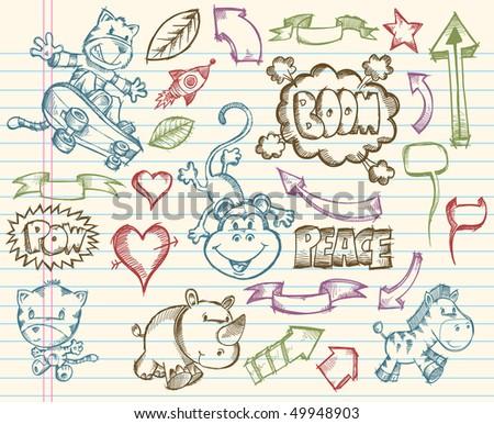 Mega Big Sketch Doodle Vector Illustration Set