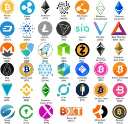 Mega Big Vector Illustration Set Collection Of Bitcoin Ethereum Ripple Monero Dash TRON IOTA Binance NEO  EOS Verge Litecoin BitConnect  Cryptocurrency Coin / Virtual Money Icon / Logotype In Color