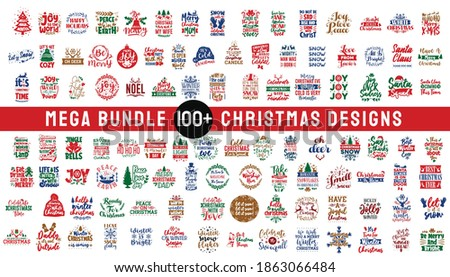 Mega bundle Christmas design typography quotes. Set of Christmas craft vector designs, Merry Christmas pack collection Foto stock ©