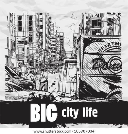 Mega city street. VEctor illustration