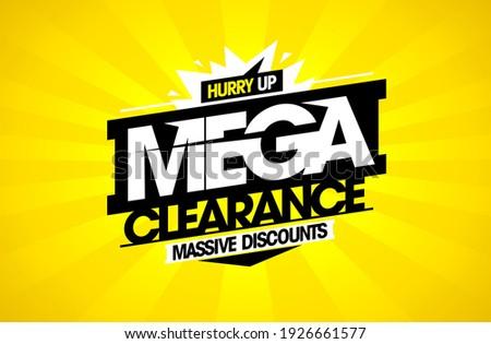 Mega clearance, massive discounts - sale vector banner mockup