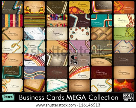 Mega collection of 42 abstract professional and designer business cards or visiting cards on diffrent topic, arrange in horizontle. EPS 10. - stock vector