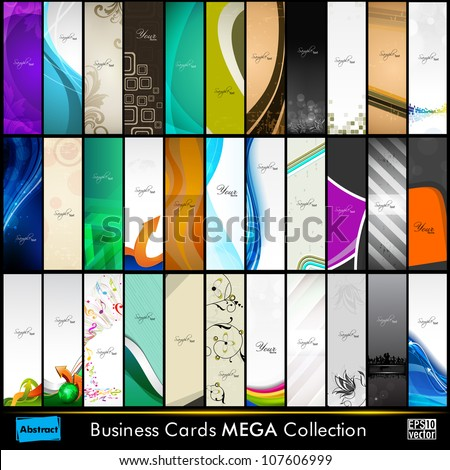 Mega collection of 33 abstract professional and designer slim business cards or visiting cards on different topic, arrange in vertical. EPS 10.