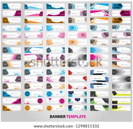 Mega collection of 90 abstract web banner design template. Collection of web banner template. Abstract geometric web design banner template isolated on grey background. Head
