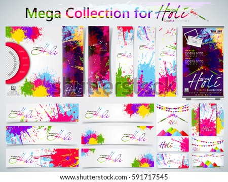 Mega Collection of Beautiful Indian festival Colorful Happy Holi celebrations with colors splash on grungy banner or header Design vector illustration design and abstract background...