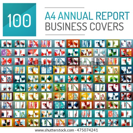 Mega collection of 100 business annual report brochure templates, A4 size covers created with geometric modern patterns - squares, lines, triangles, waves