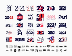 Mega collection of 2021 Happy New Year signs. Set of 2021 Marry Christmas symbols. Greeting card artwork, brochure template. Vector illustration with black holiday labels isolated on white background.