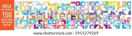 Mega collection of 150 social media post design template Stock fotó ©