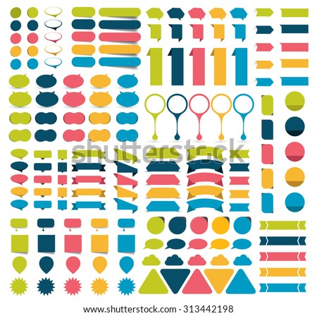 Mega collections of infographics flat design elements, buttons, stickers, note papers, pointers.  Vector illustration.
