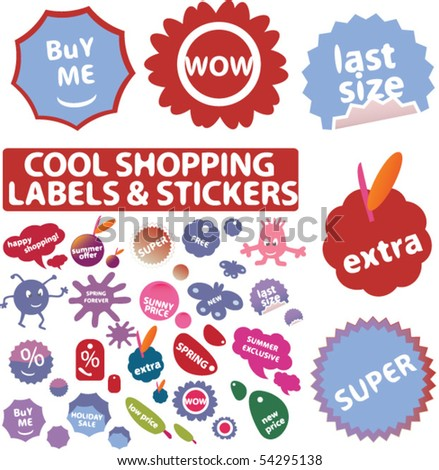 mega cool shopping labels & stickers. vector - stock vector