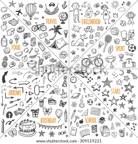 Mega doodle design elements vector set. Hand drawn illustrations: travel, childhood, sport, school, birthday, arrows, food.