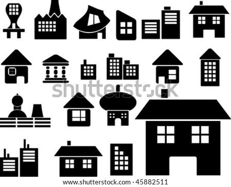 mega houses set. vector
