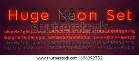 Mega huge neon set glowing alphabet with upper, lowercase letters, punctuation marks and numbers. Vector On, Off lamp isolated on red background.