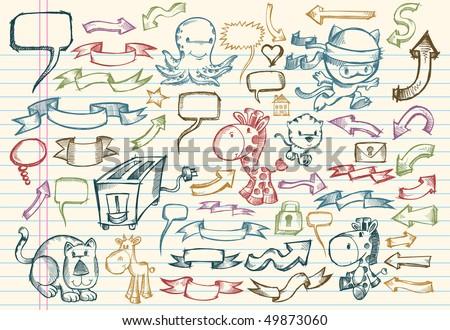 Mega Notebook Doodle Sketch Vector Illustration Set