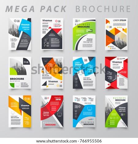 Mega pack Brochure design template flyer set - Shutterstock ID 766955506