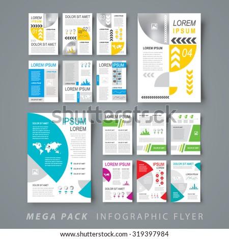 Mega pack Infographic flyer design template set