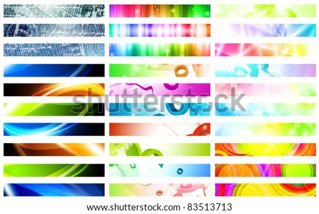 Mega pack of bright multicolored web banner set over white