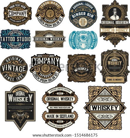Mega pack of 14 labels and banners. Vector layered
