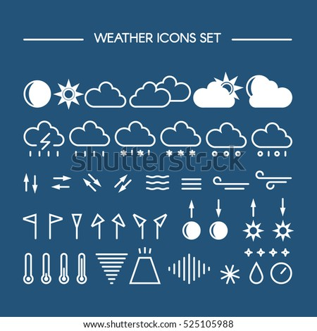 Mega pack of weather icons with. Vector line style pictograms. Clean and easy to edit.