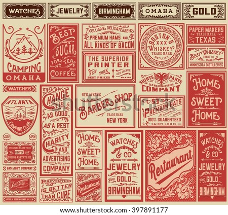 Mega pack retro advertisement designs and labels - Vector illustration