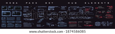 Mega pack set HUD elements in cyber style. Techno frames, callouts, information blocks, robotics elements. Rooted cyber techno frame for the HUD user interface