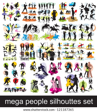 mega people silhouettes set