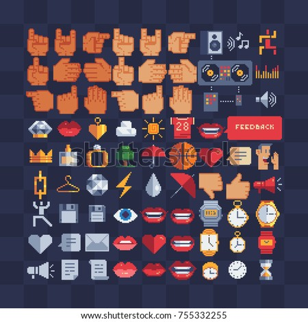 Mega pixel art icon set. Hands, musical symbols, female accessories, sports, weather, lips, clock, web icons.  Stickers design.  Isolated vector illustration. 8-bit sprites.