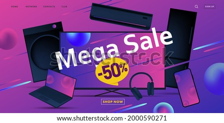 Mega sale advertiving banner with 3d illustration of dofferent home and smart electronic devices, discount up to fifty Foto stock ©