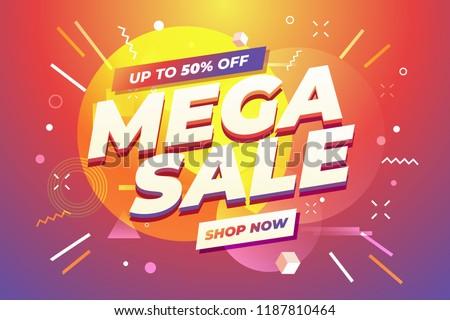 Mega Sale banner template design, Big sale special offer. Vector