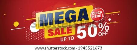 Mega sale banner template design for web or social media, Sale special up to 50% off. Stock fotó ©