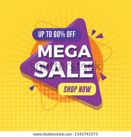 Mega sale banner with geometric shapes