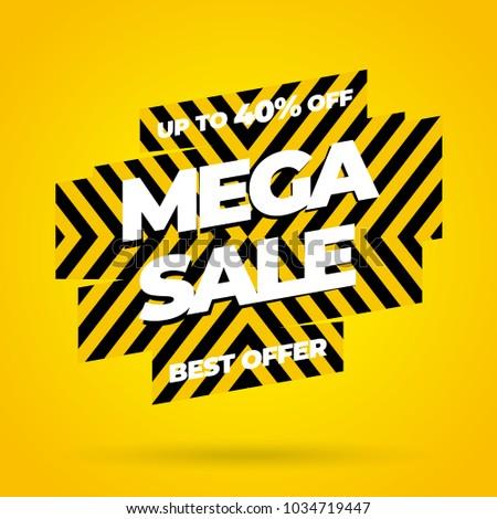 Mega Sale Best Offer banner. Vector illustration.