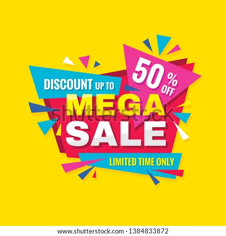 Mega sale - concept promotion banner. Abstract background vector illustration. Discount up to 50% off creative poster.