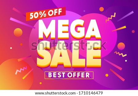 Mega Sale for web app banner. Abstract creative background in bright colors. Fluid promotion gradient shapes composition. Cool design for card, poster, invitation or flyer. Discount special offer. Stock fotó ©