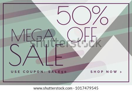 mega sale offer discount banner voucher template design - Download ...