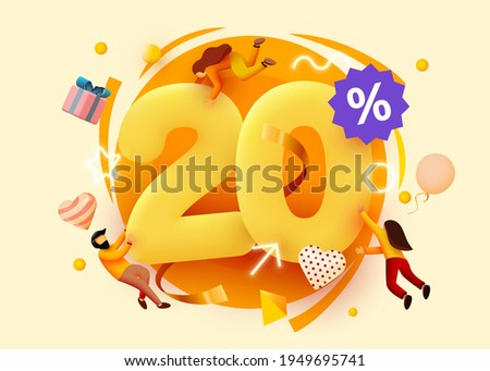 Mega sale. 20 percent discount. Special offer background with flying people. Promotion poster or banner. Vector illustration Сток-фото ©