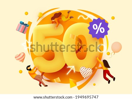 Mega sale. 50 percent discount. Special offer background with flying people. Promotion poster or banner. Vector illustration