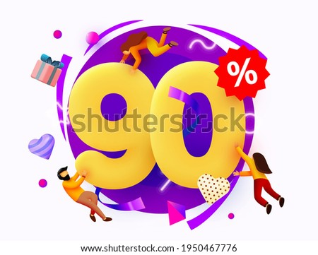 Mega sale. 90 percent discount. Special offer background with flying people. Promotion poster or banner. Vector illustration