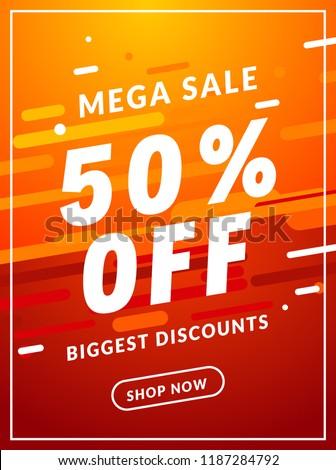 Mega Sale 50 percent off banner template design. Big sale special offer promotion discount for business.