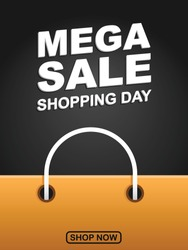 Mega sale shopping day vector. Paper bag vector isolated in black. Shopping day concept good for campaign, post feed, background, advertising