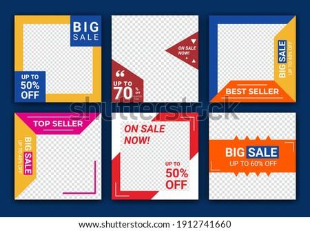 Mega sale social media post design templates vector set, backgrounds with copyspace. Fashion sale banner template for social media post.