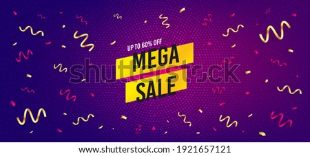 Mega sale sticker. Festive confetti background with offer message. Discount banner shape. Coupon tag icon. Best advertising confetti banner. Mega sale badge shape. Celebrate party background. Vector
