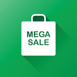 Mega sale vector good for campaign, background, icon, sticker. Shopping bag icon isolated in green.